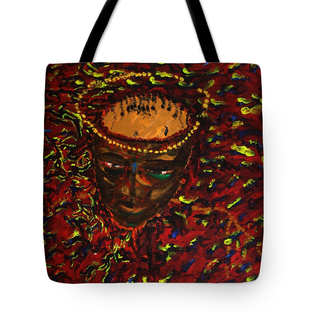 Jesus Tote Bag featuring the painting In Gethsemane by Gloria Ssali