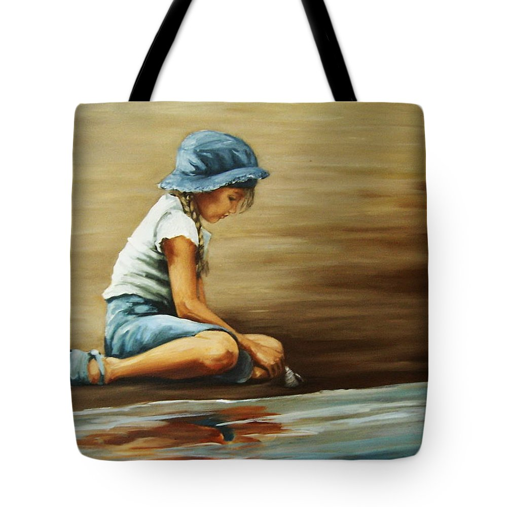 Girl Tote Bag featuring the painting In Her World... by Natalia Tejera