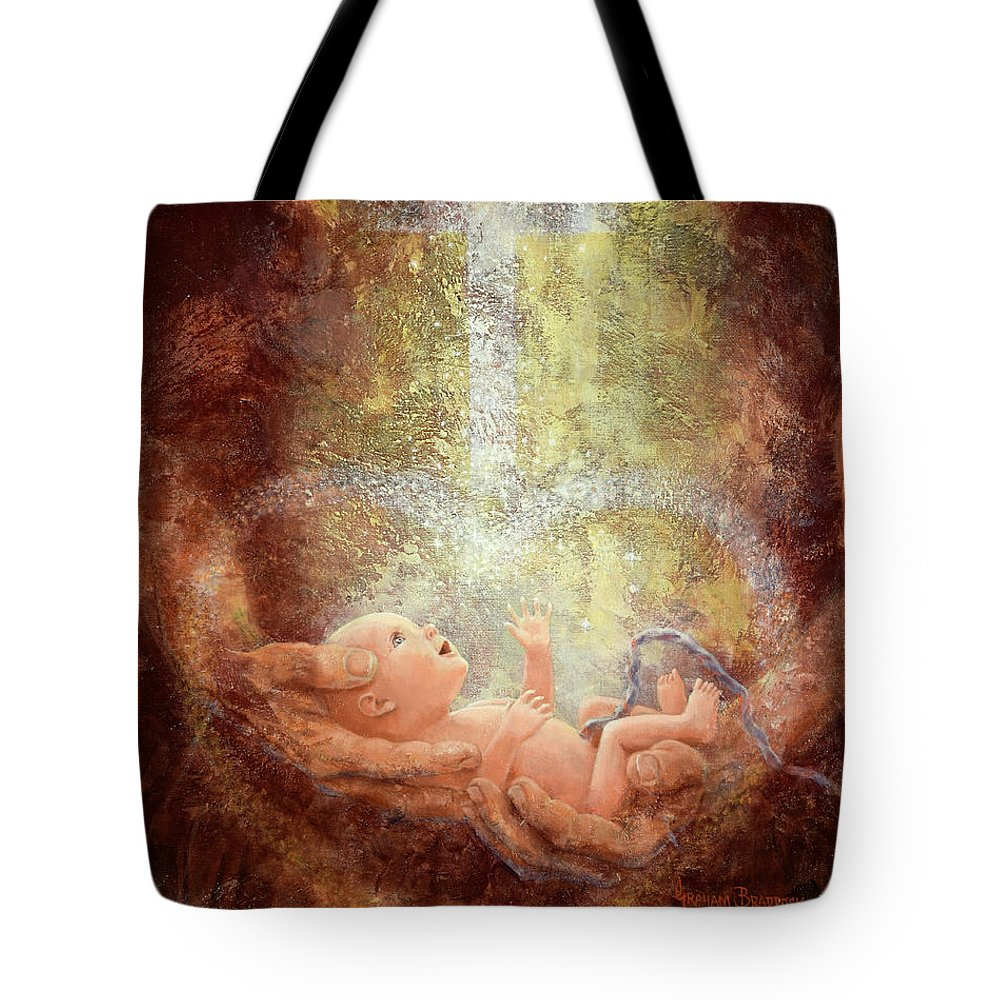 Baby Tote Bag featuring the painting In His Hands by Graham Braddock