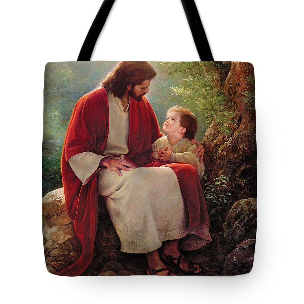 Jesus Tote Bag featuring the painting In His Light by Greg Olsen