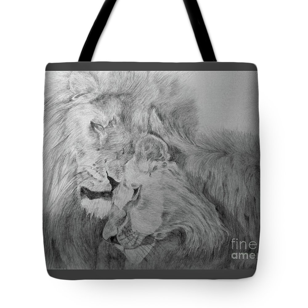 Lion Wild Cats Animals Drawing Paper Tote Bag featuring the drawing In Love by Nadi Sabirova