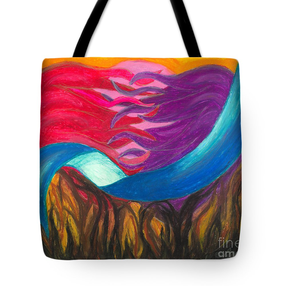 Abstract Art Tote Bag featuring the painting In Love We Are Bound by Ania M Milo