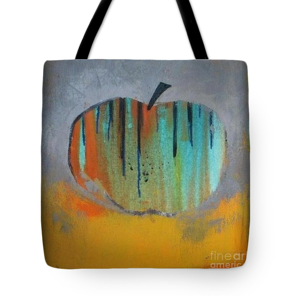 Abstract Tote Bag featuring the painting In Love With Apple by Vesna Antic