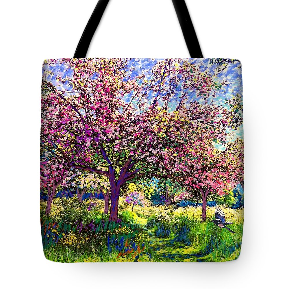 Blossom Tote Bag featuring the painting In Love With Spring, Blossom Trees by Jane Small
