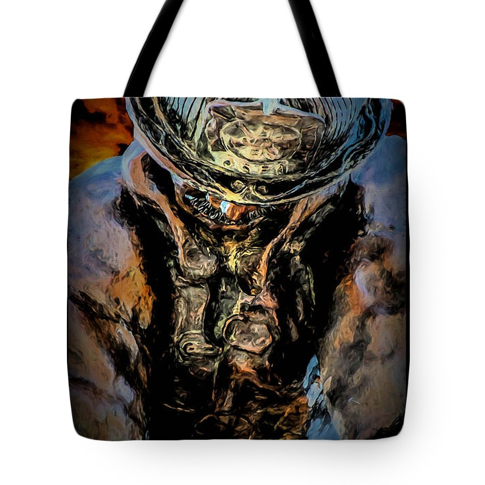Memorial Tote Bag featuring the digital art In Memoriam - Oil by Tommy Anderson