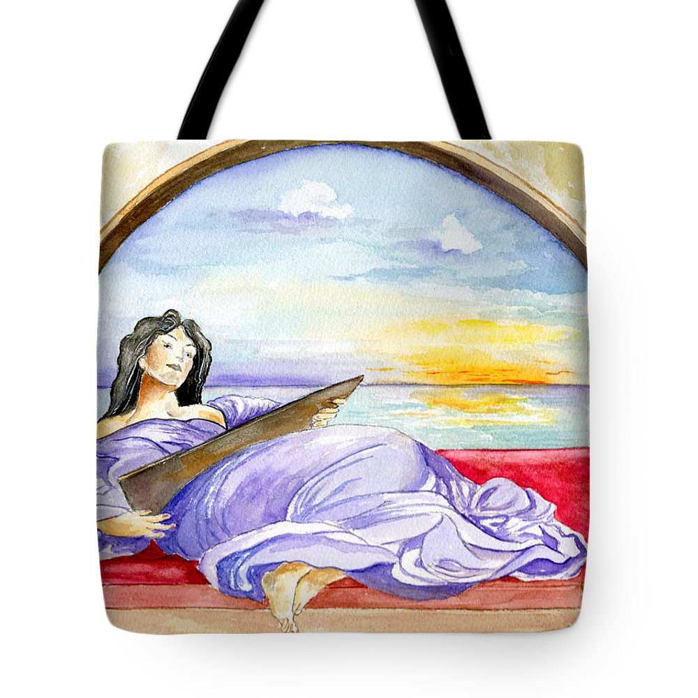 Landscape Woman Romantic Figure Window Sea Sky Tote Bag featuring the painting In Paradisum by Brenda Owen