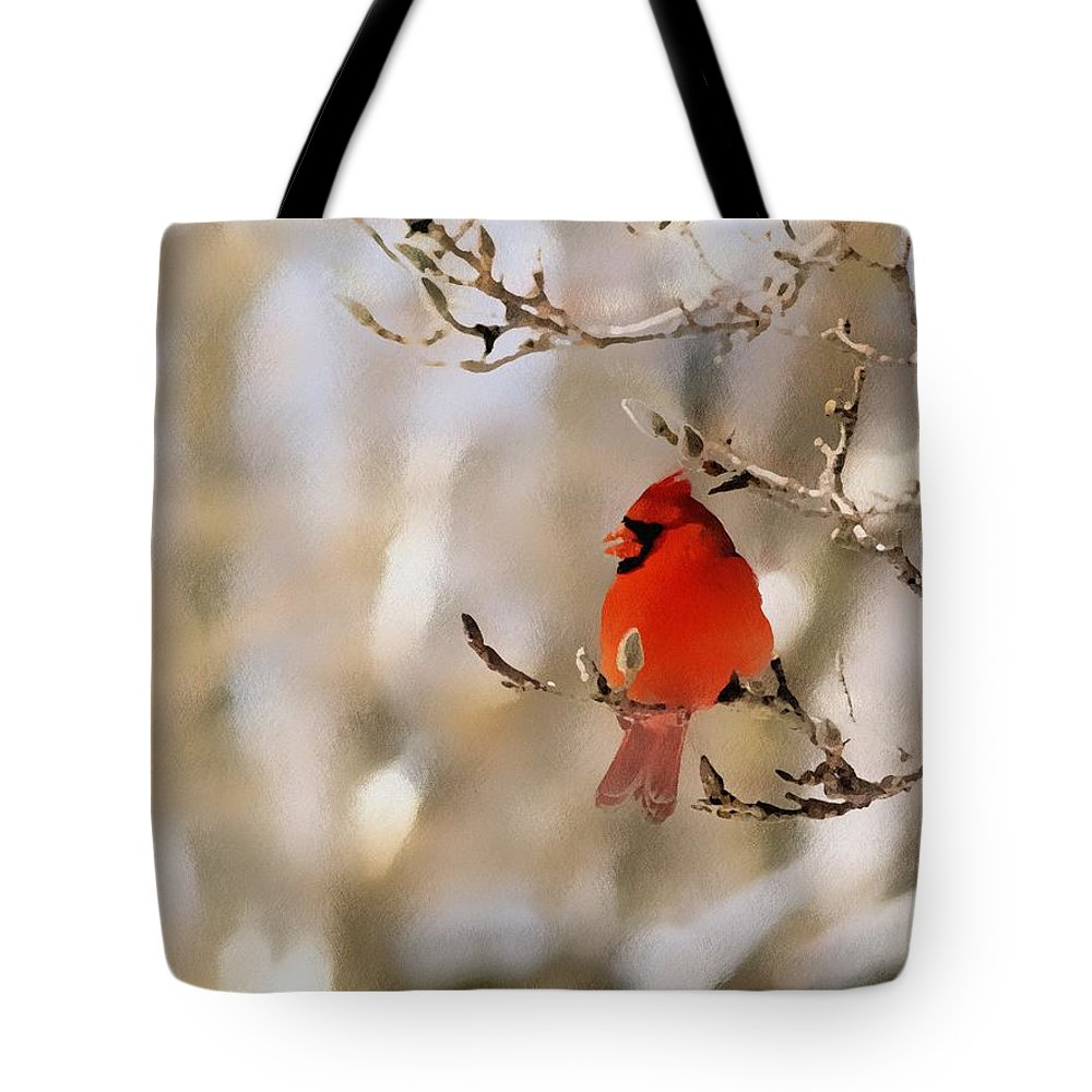 Cardinal Tote Bag featuring the photograph In Red by Gaby Swanson