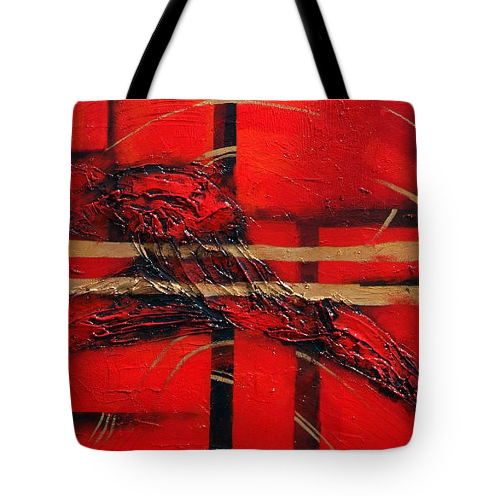 Abstract.red. Gold Tote Bag featuring the painting In Red by Milda Aleknaite