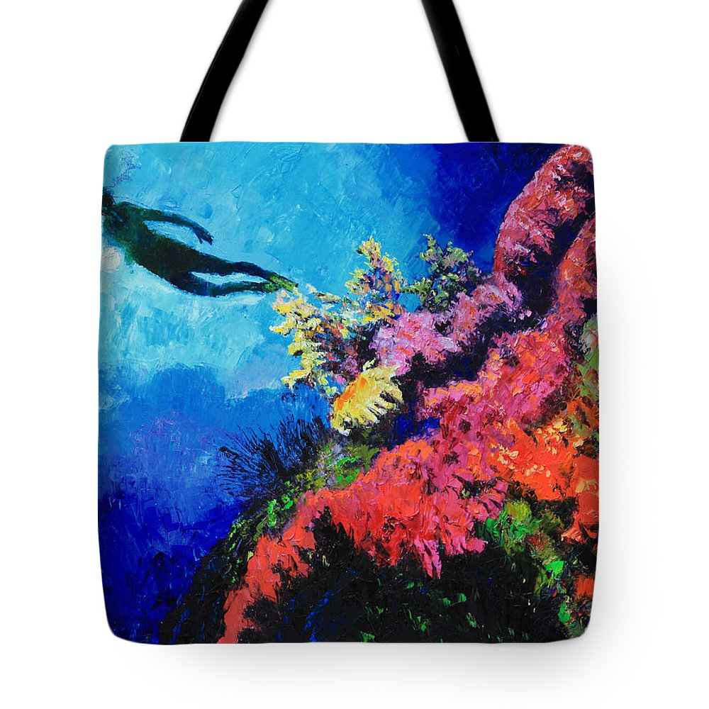 Scuba Diver Tote Bag featuring the painting In Search Of The Creator by John Lautermilch