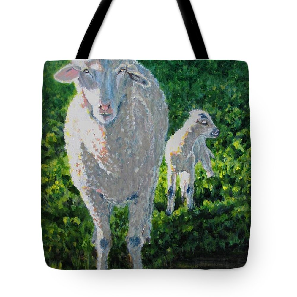 Sheep Tote Bag featuring the painting In Sheep's Clothing by Karen Ilari