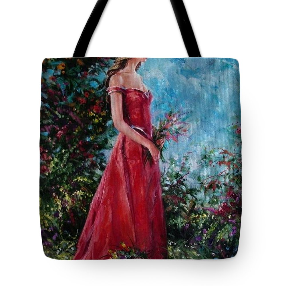Figurative Tote Bag featuring the painting In summer garden by Sergey Ignatenko