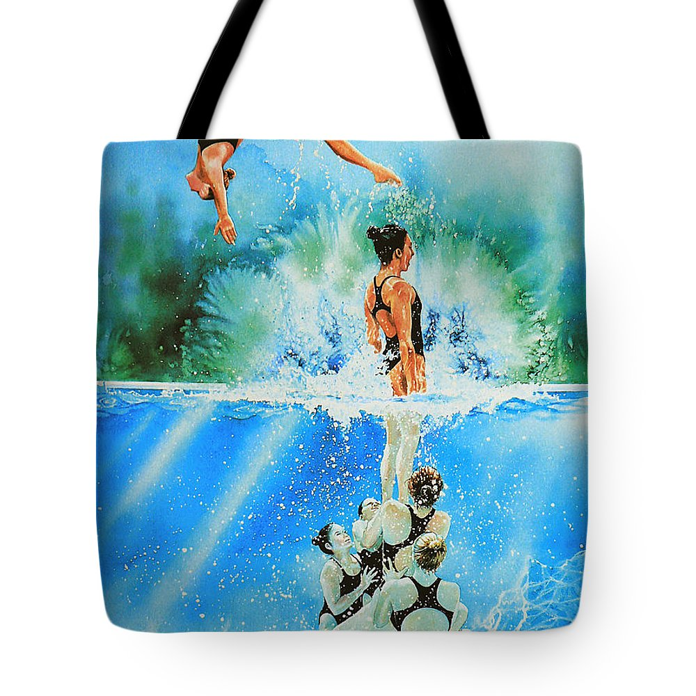 Swimming Tote Bag featuring the painting In Sync by Hanne Lore Koehler
