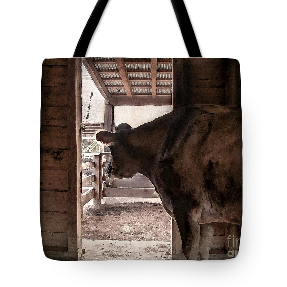 Animal Tote Bag featuring the photograph In The Barn by Todd Blanchard