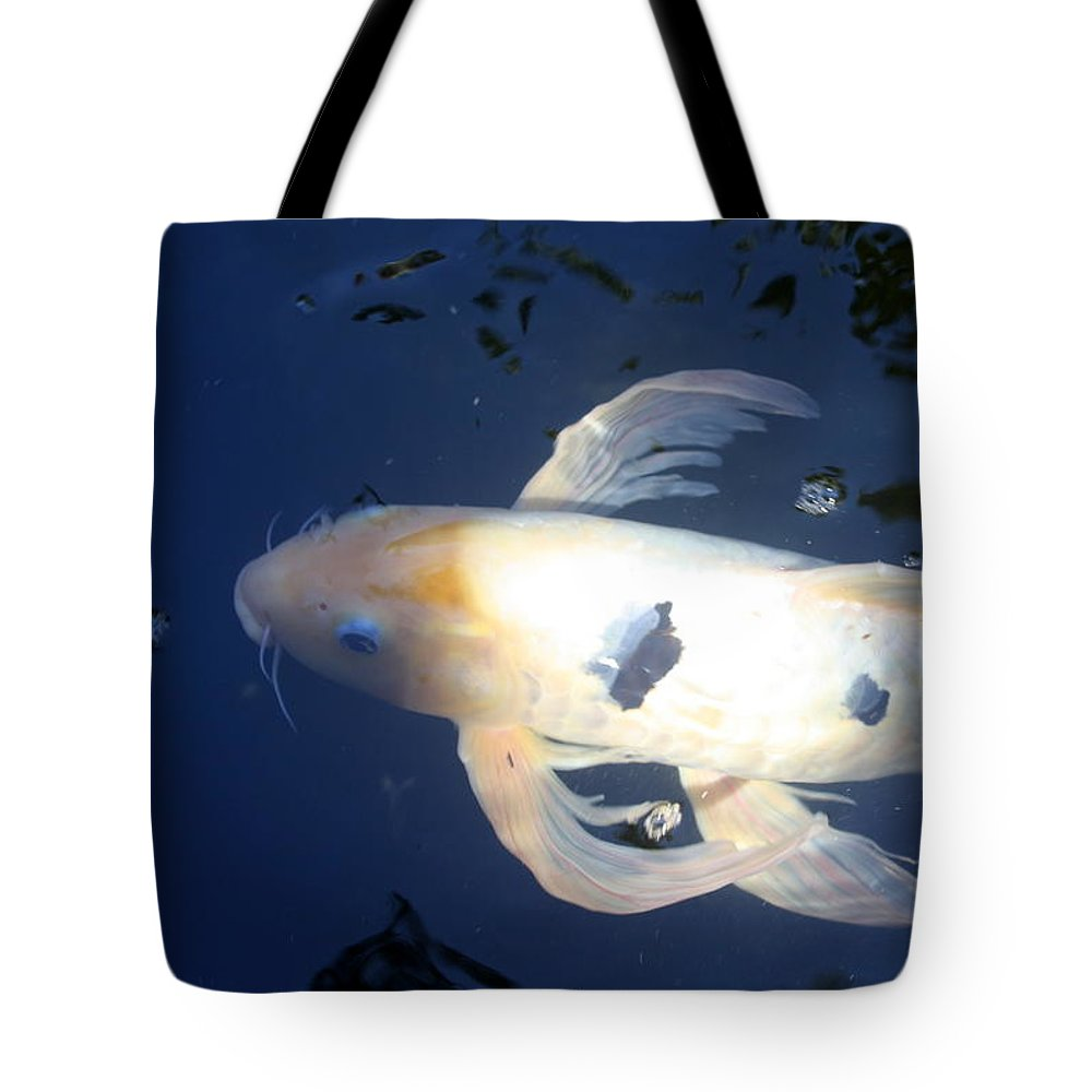 Koi Tote Bag featuring the photograph In The Blue World by Irina Davis