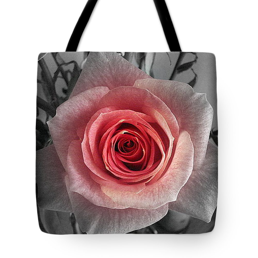 Rose Red Blackandwhite Tote Bag featuring the photograph In The Center by Luciana Seymour