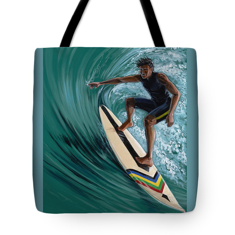 Surfer Tote Bag featuring the painting In The Curl by Hank Wilhite