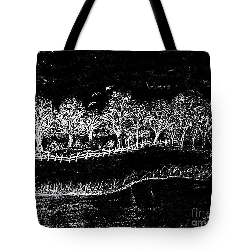 Pencil Tote Bag featuring the drawing In The Dark Of The Night by Debra Lynch