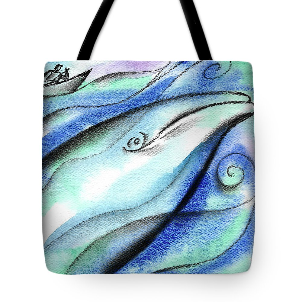 Animal Whale Fish Sea Tote Bag featuring the painting In The Deep by Leon Zernitsky