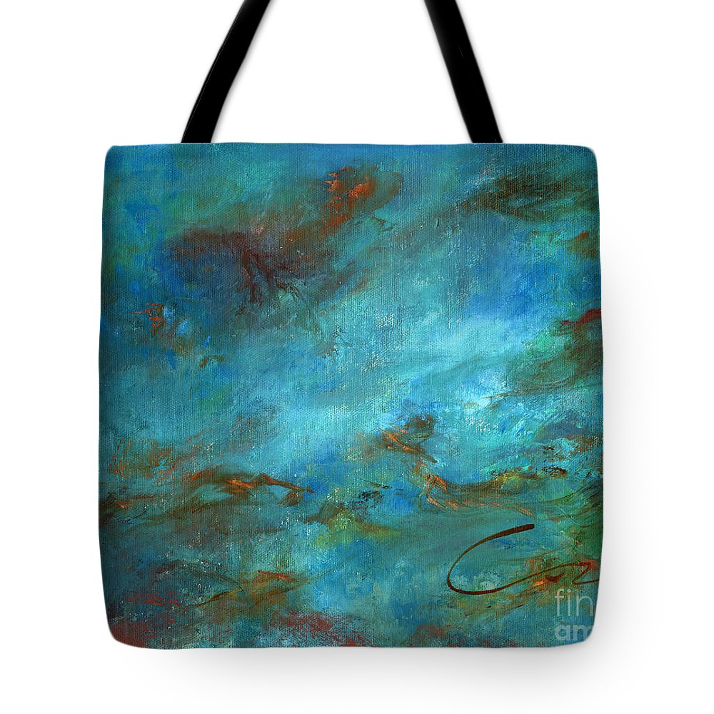 Impressionistic Seascape Tote Bag featuring the painting In The Deep by Sharon Abbott-Furze