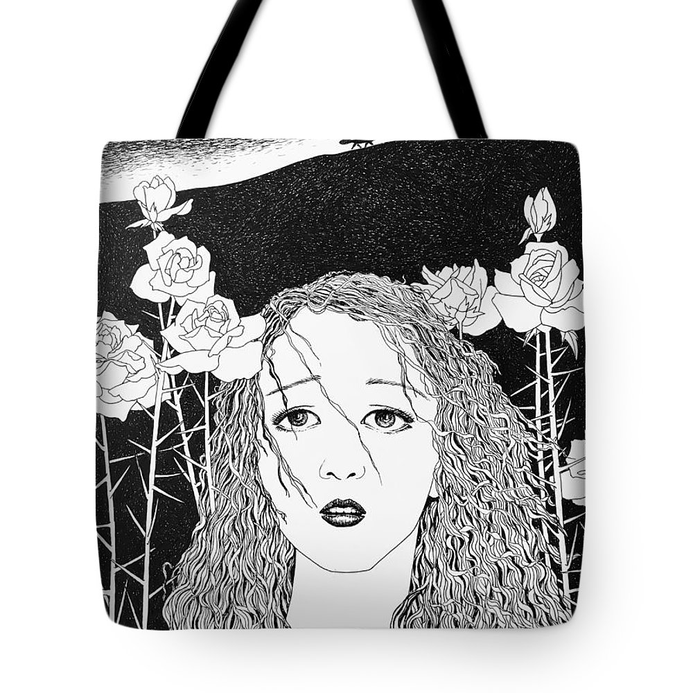 Pen And Ink Tote Bag featuring the drawing In The Distance by Xueping Zhang