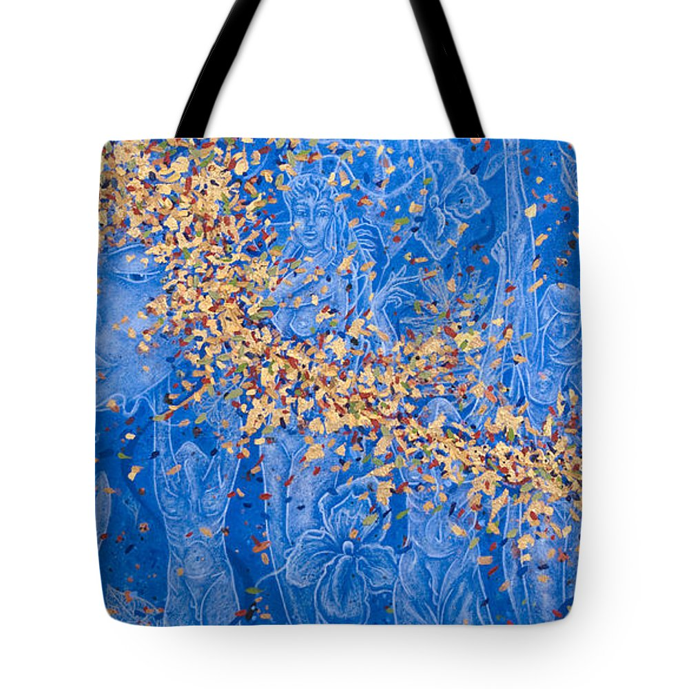 Waterfall Tote Bag featuring the painting In The Falls by Judy Henninger