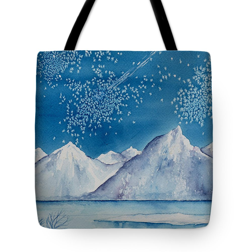 Watercol.or Scenery Landscape Fantasy Ice Snow Cold Winter Mountains Frozen Tote Bag featuring the painting In The Far North by Brenda Owen