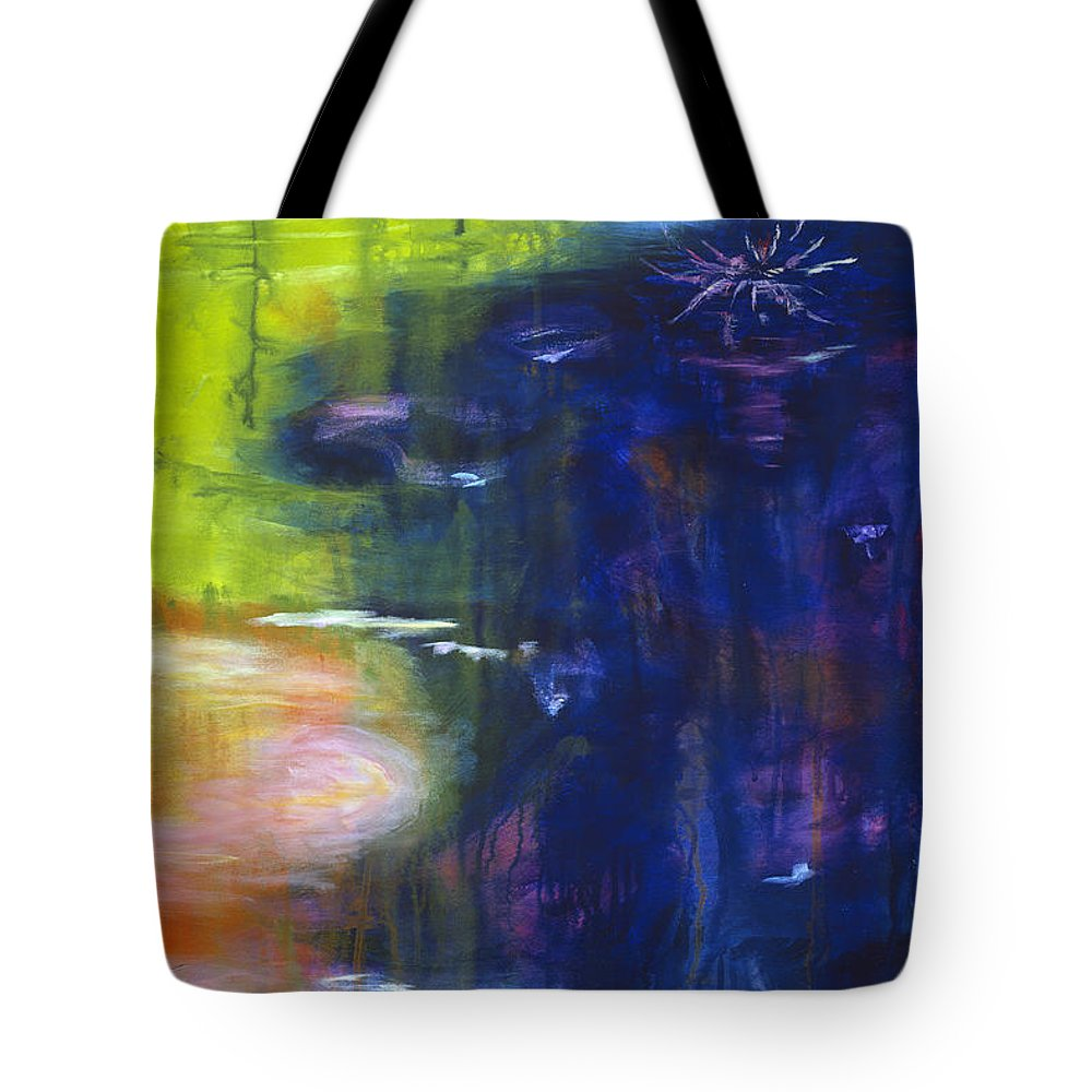 Abstract Tote Bag featuring the painting In The Flow by Tara Moorman