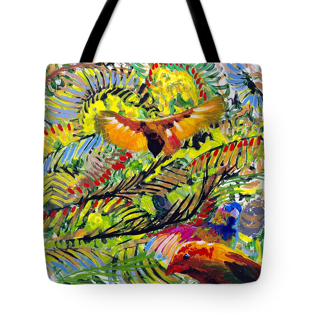Birds Tote Bag featuring the painting Birds In The Forest by Lynn Hansen