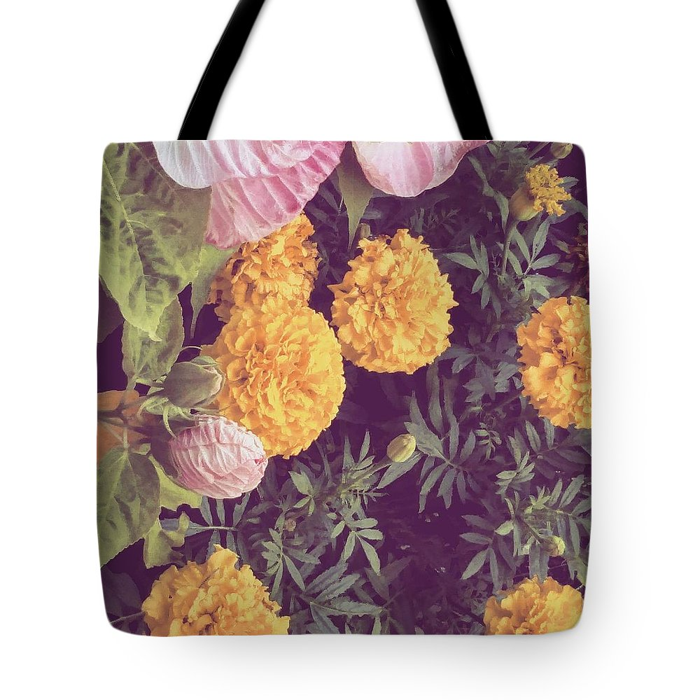 Flower Tote Bag featuring the photograph In The Garden by Aly Robinson