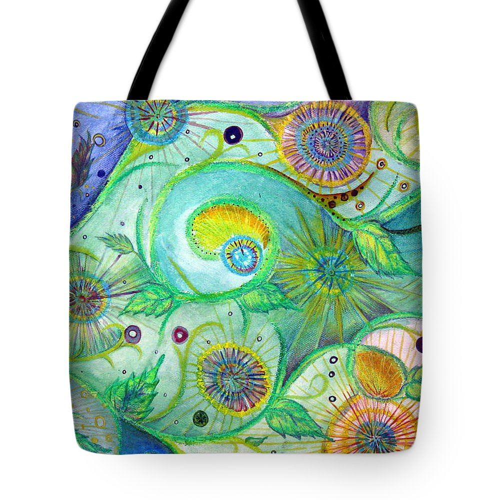 Landscape Tote Bag featuring the drawing In The Garden by Amanda Kabat