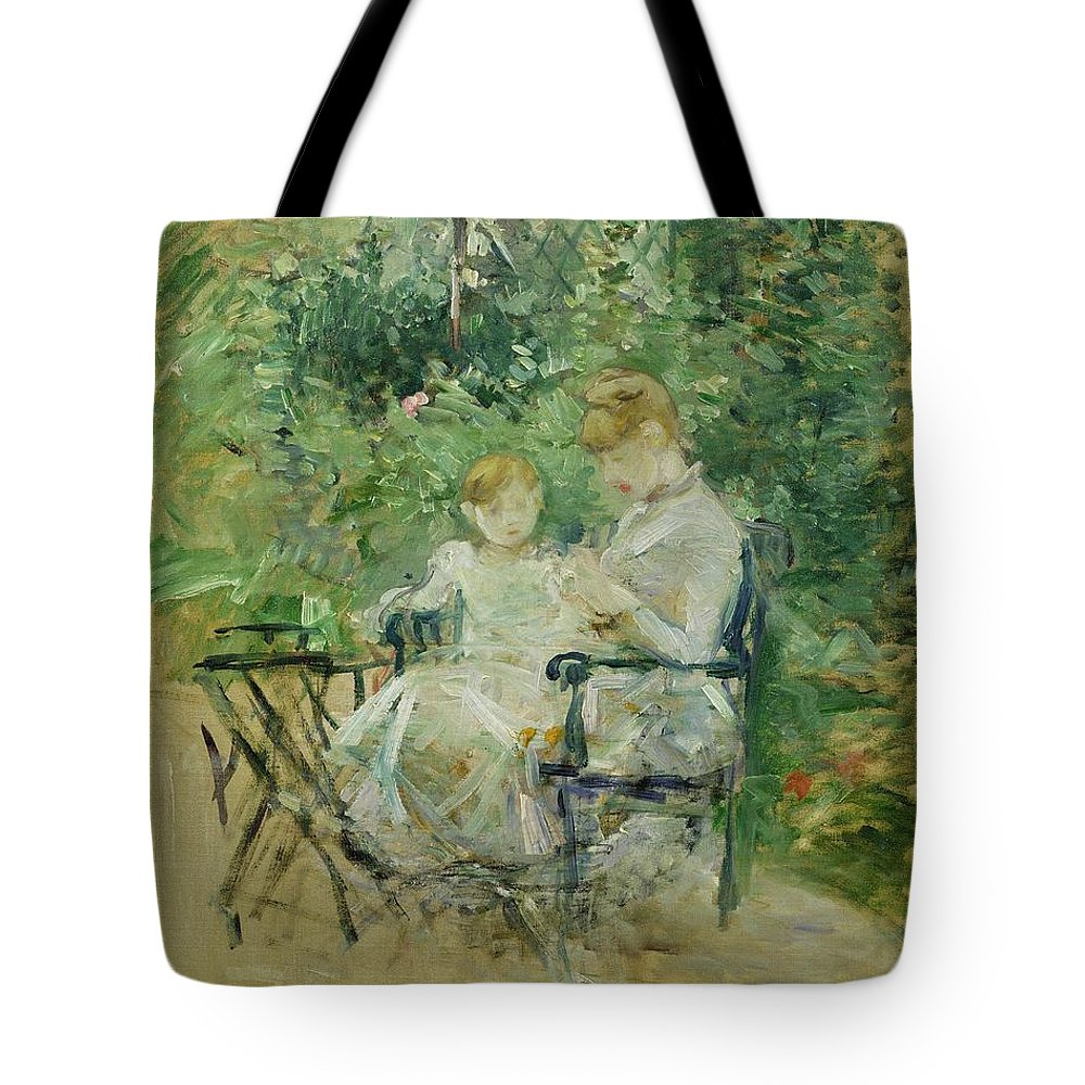 The Tote Bag Featuring The Painting In The Garden By Berthe Morisot