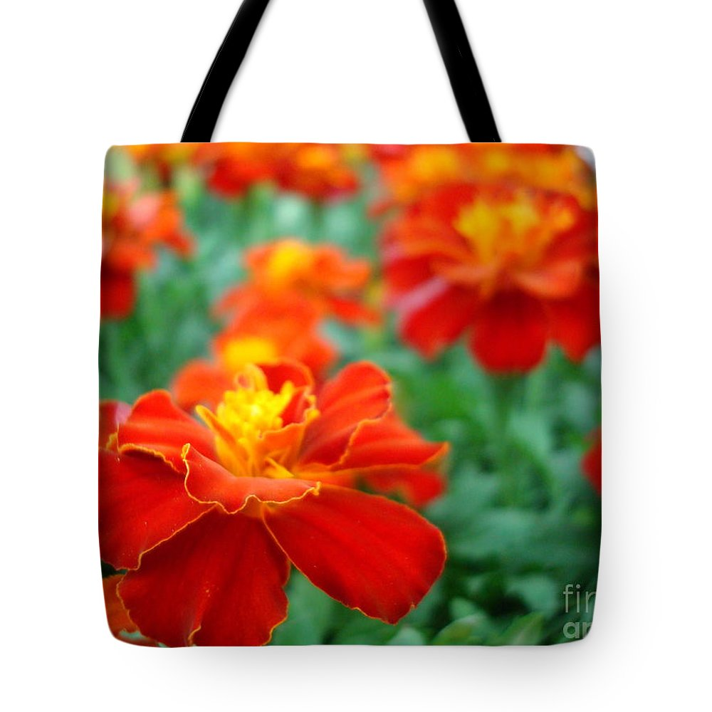 Floral Tote Bag featuring the photograph In The Garden by Kathy Bucari
