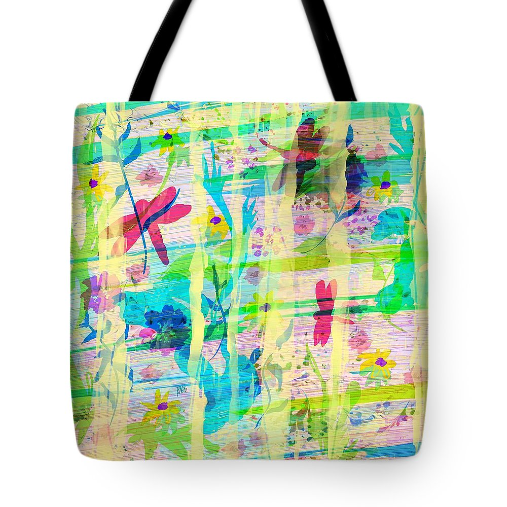 Abstract Tote Bag featuring the digital art In The Garden by Rachel Christine Nowicki