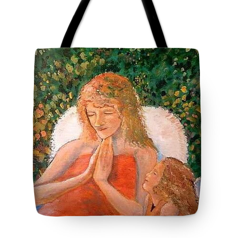 Angels Tote Bag featuring the painting In The Garden We Pray by J Bauer