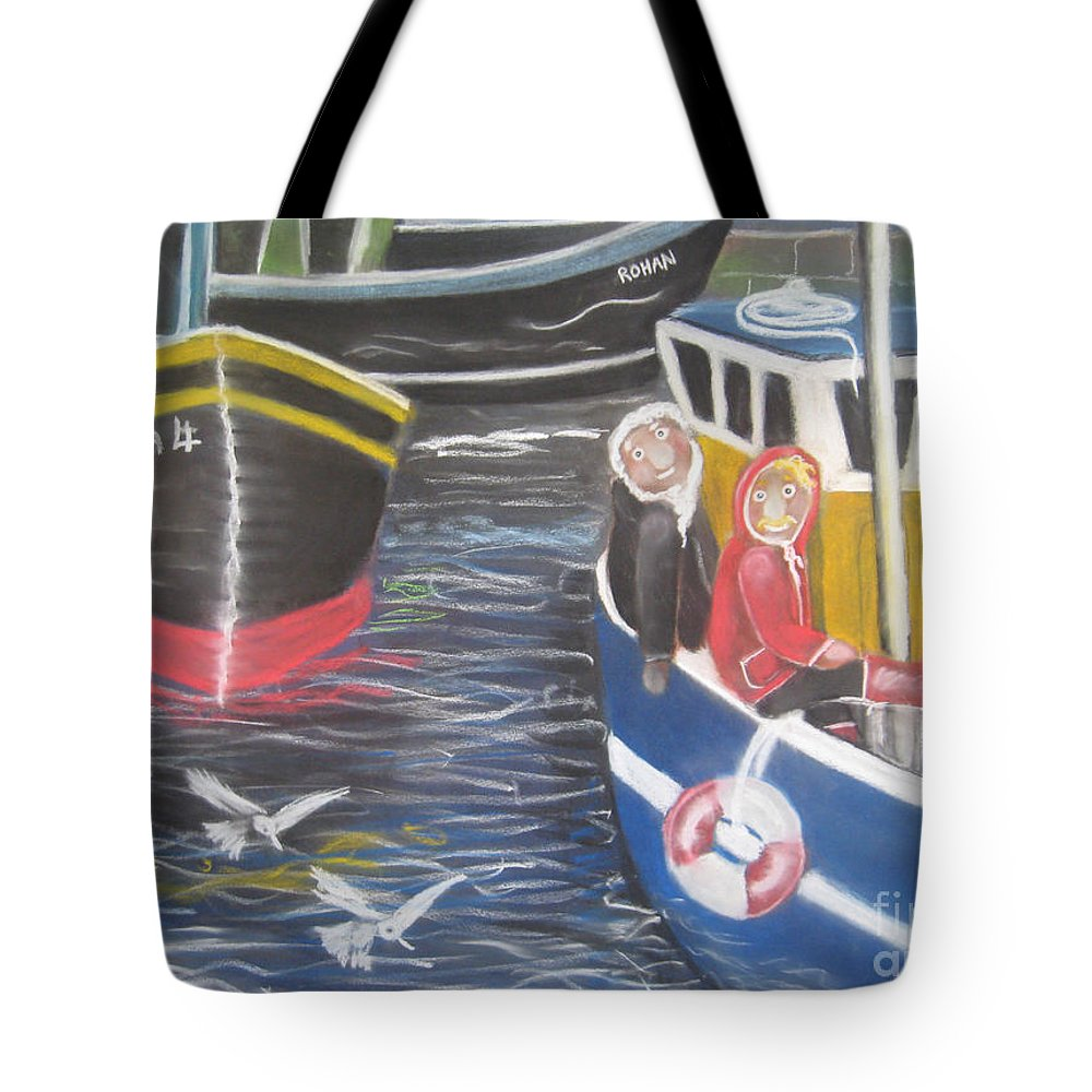 Boats Tote Bag featuring the pastel In The Harbour by Caroline Peacock