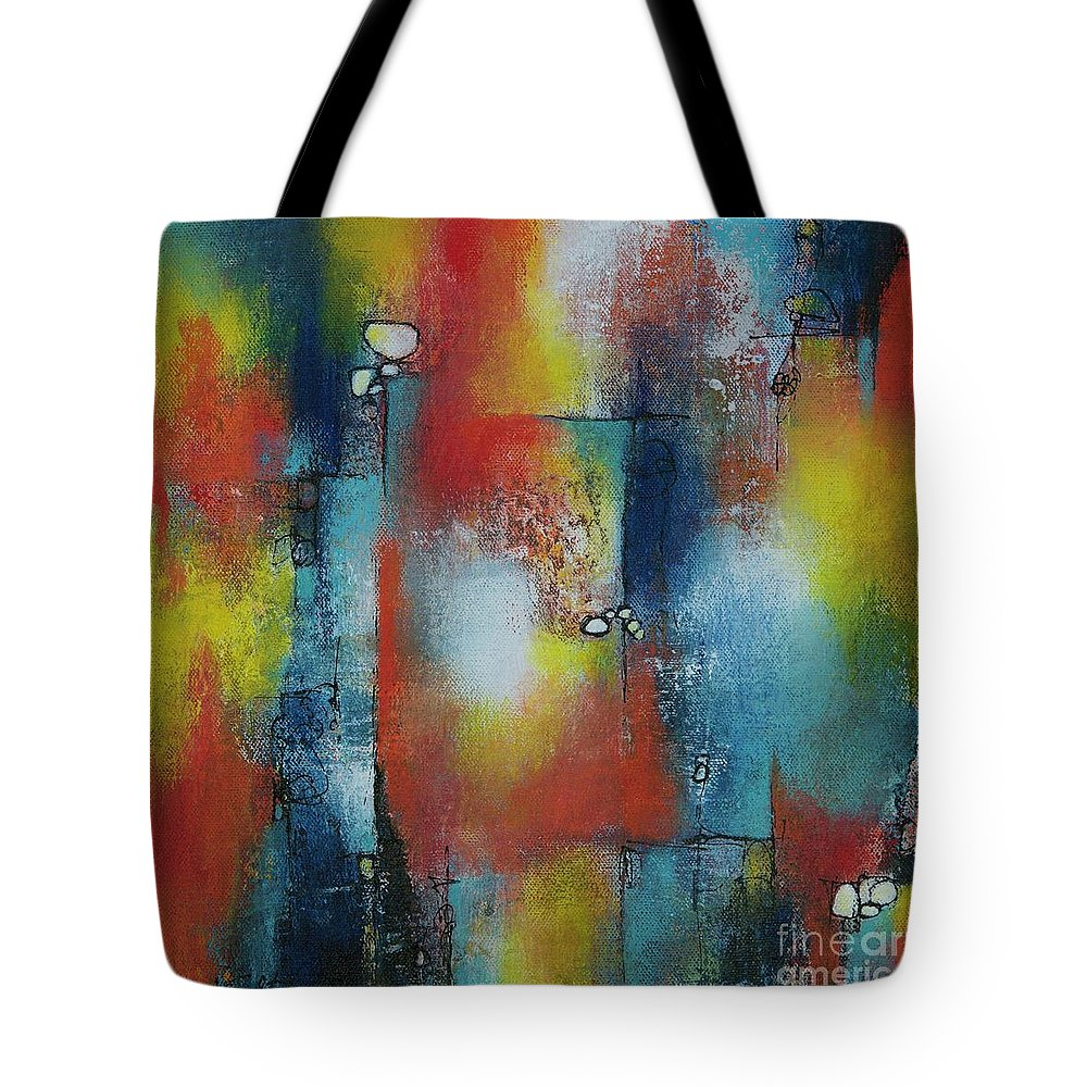 Abstract Tote Bag featuring the painting In The Heat Of The Night by Laurie DeVault