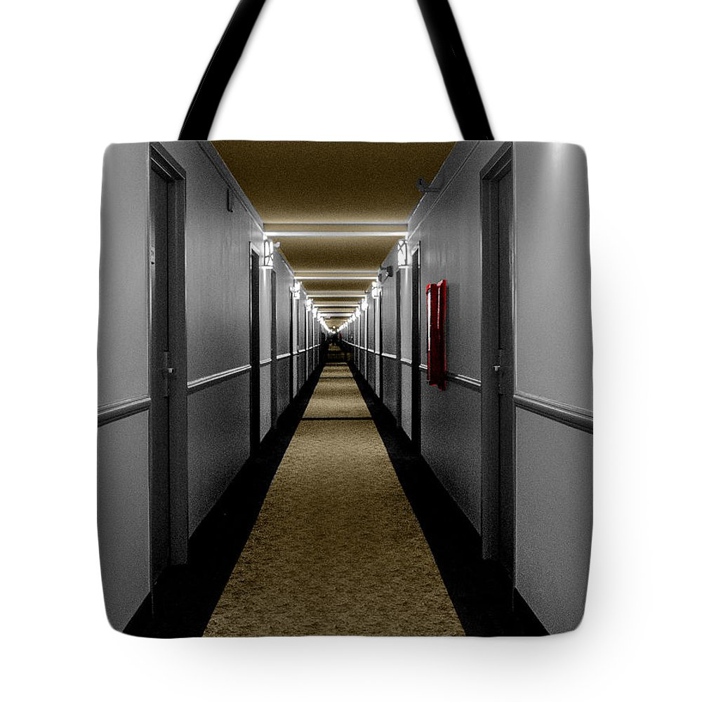 Hotel Tote Bag featuring the photograph In The Long Hall by Leon deVose