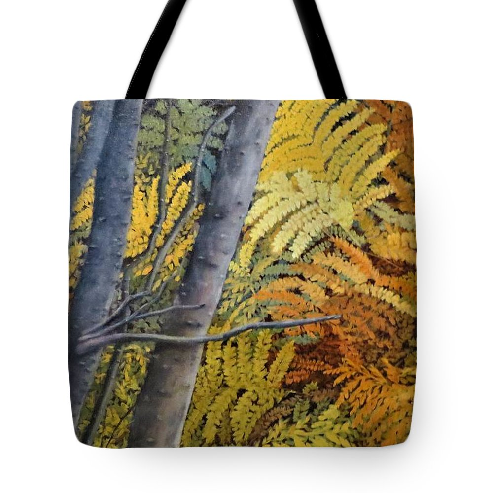 Maine Tote Bag featuring the painting In The Maine Woods by Beverly Theriault