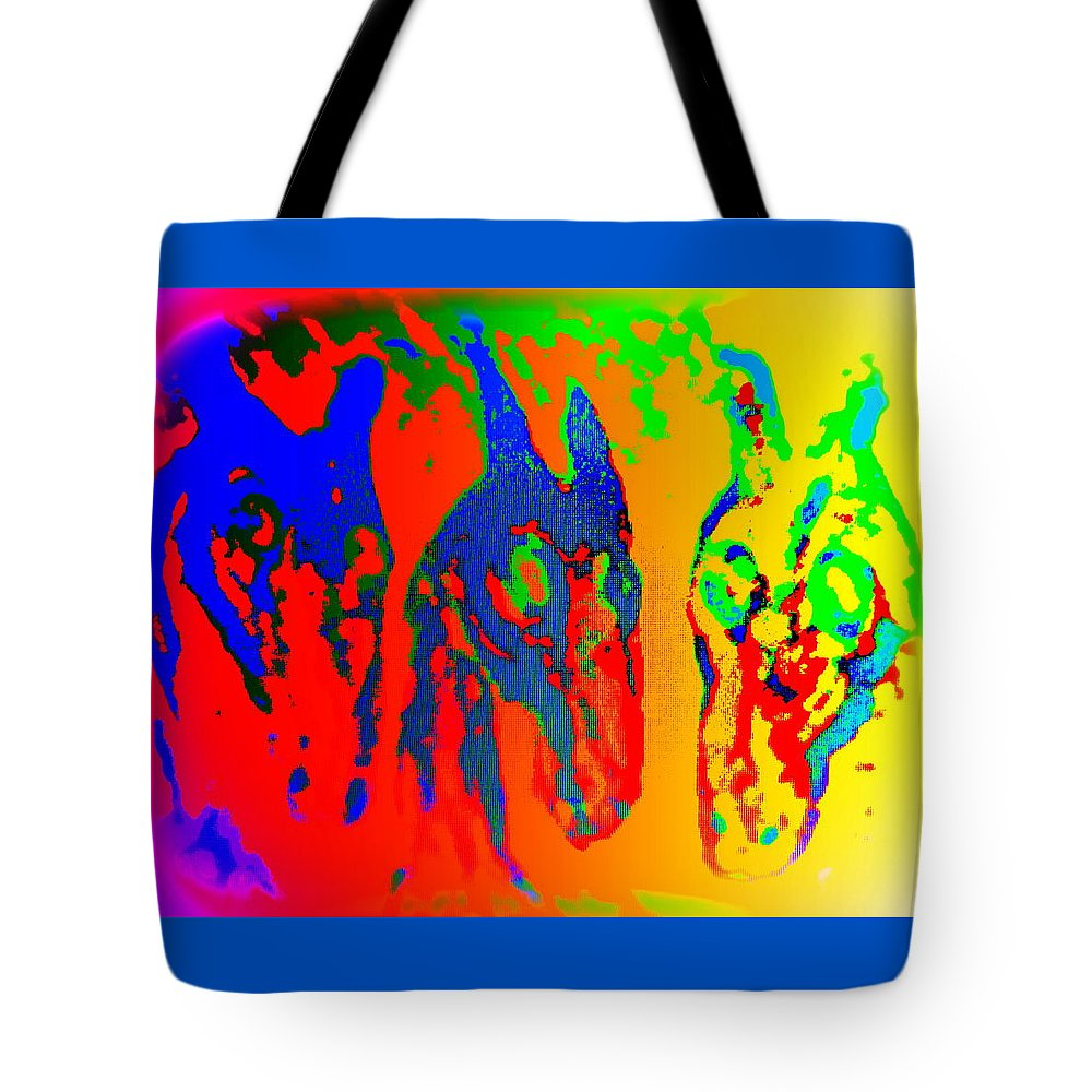 Poodle Tote Bag featuring the painting We Like To Sing A Song Whenever We Are In The Melancholic Corner  by Hilde Widerberg