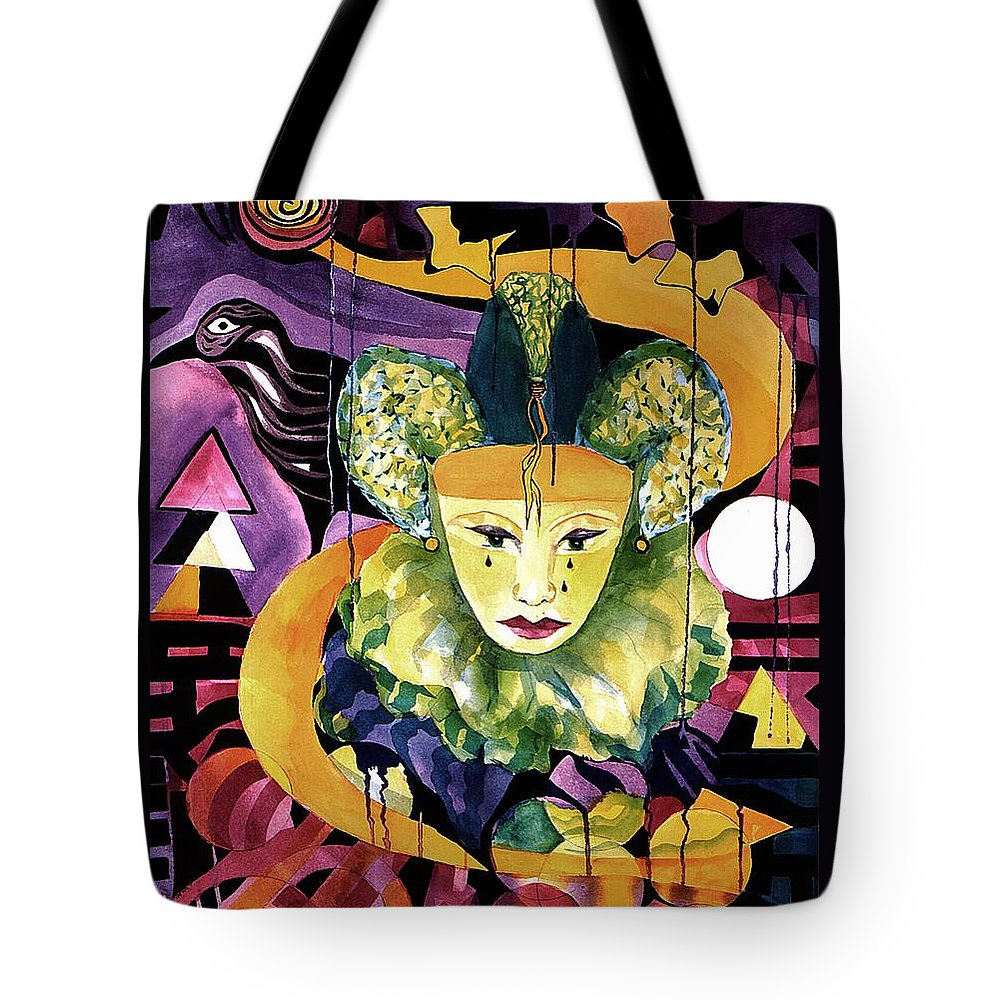 Harlequins Tote Bag featuring the painting In The Midnight Hour by Carolyn LeGrand