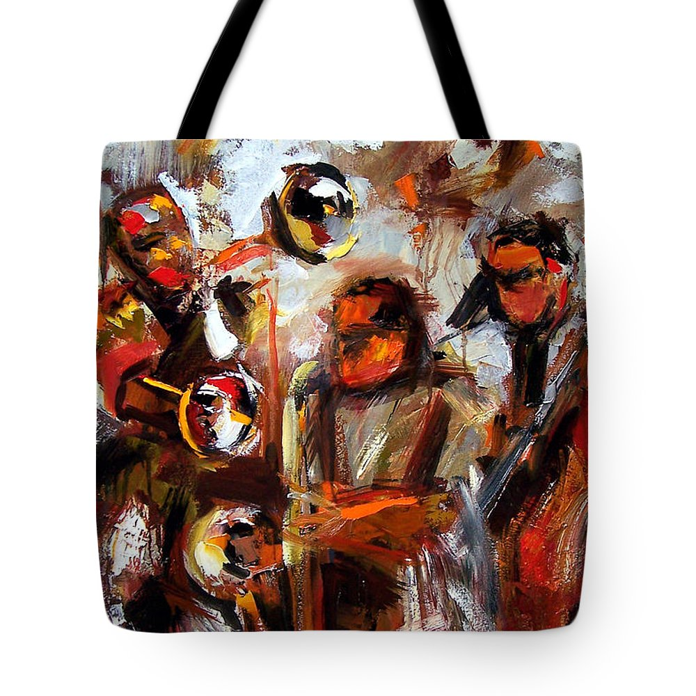 Jazz Art Tote Bag featuring the painting In The Moment by Debra Hurd