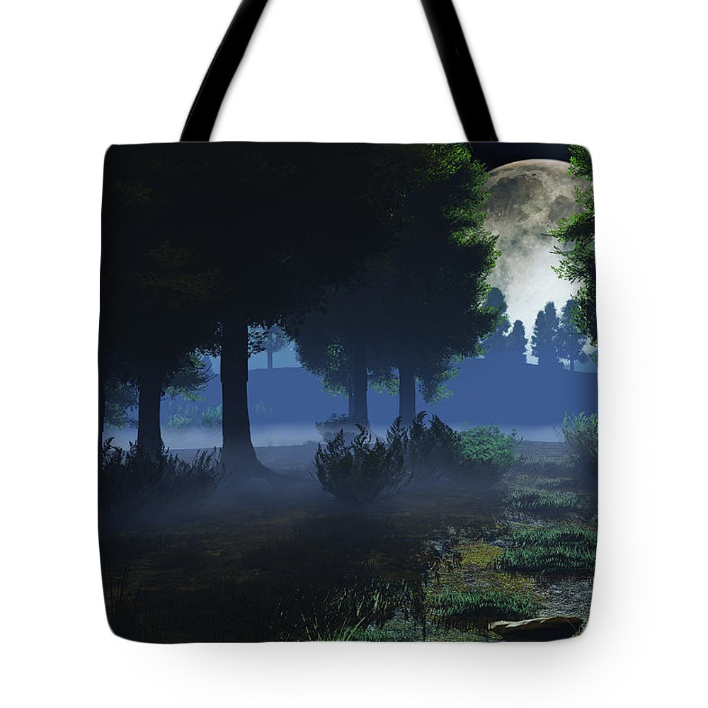 Fog Tote Bag featuring the digital art In The Moon Light by Max Steinwald