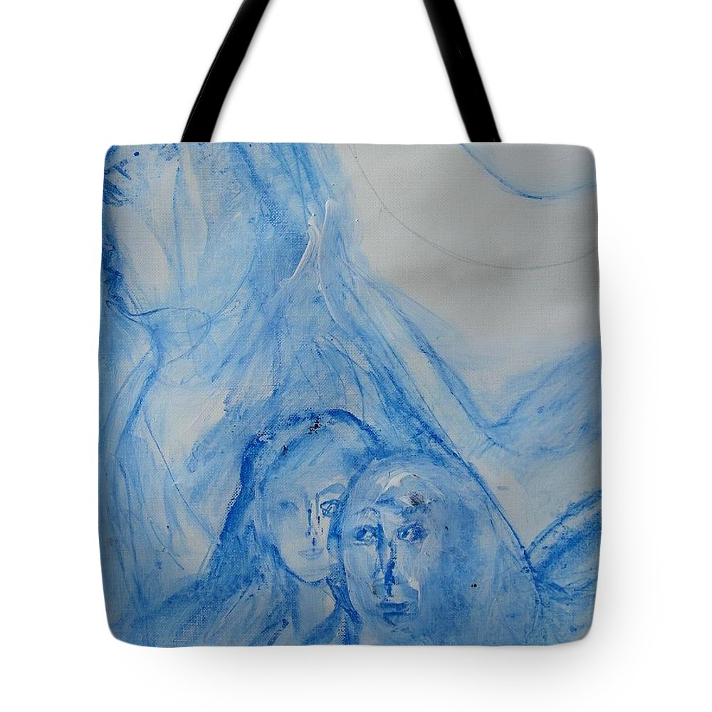 Abstract Tote Bag featuring the painting In The Mother's Shadow by Judith Redman