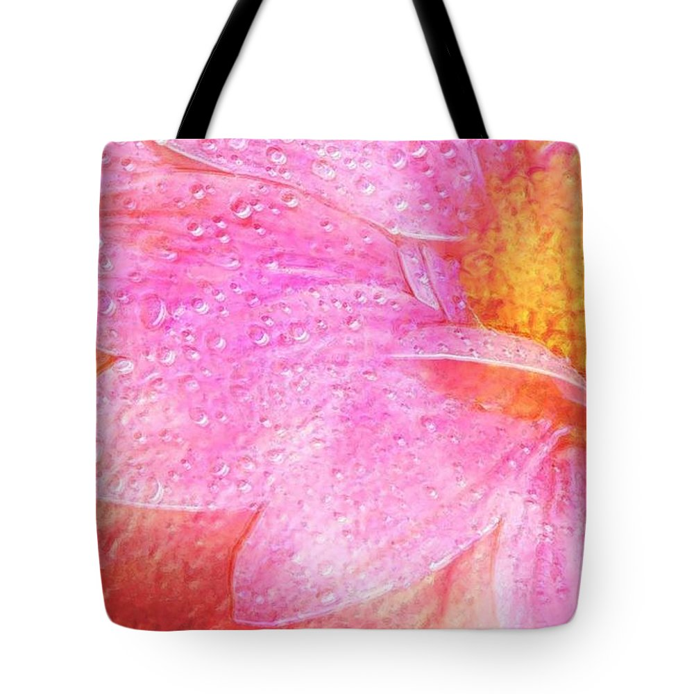 Flower Pink Digital Painting Art Design Macro Bubbles Tote Bag featuring the photograph In The Pink by Linda Sannuti