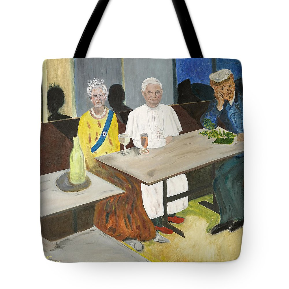 Pub Tote Bag featuring the painting In The Pub by Avi Lehrer