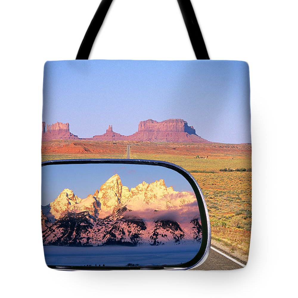 Monument Tote Bag featuring the photograph In The Rear View Mirror by Buddy Mays