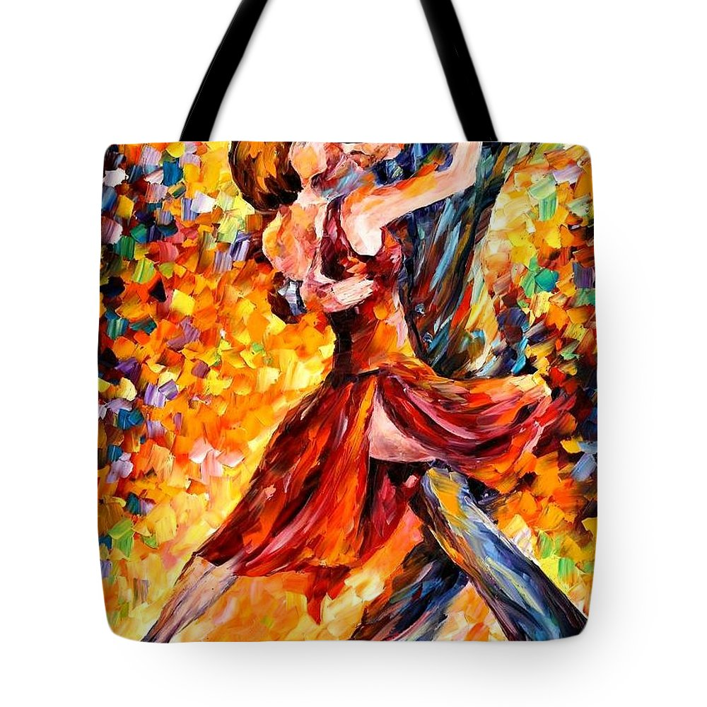 Afremov Tote Bag featuring the painting In The Rhythm Of Tango by Leonid Afremov