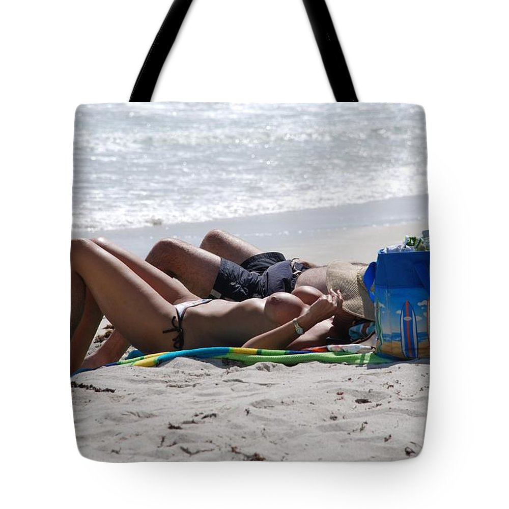 Nude Tote Bag featuring the photograph In The Sand At Paradise Beach by Rob Hans