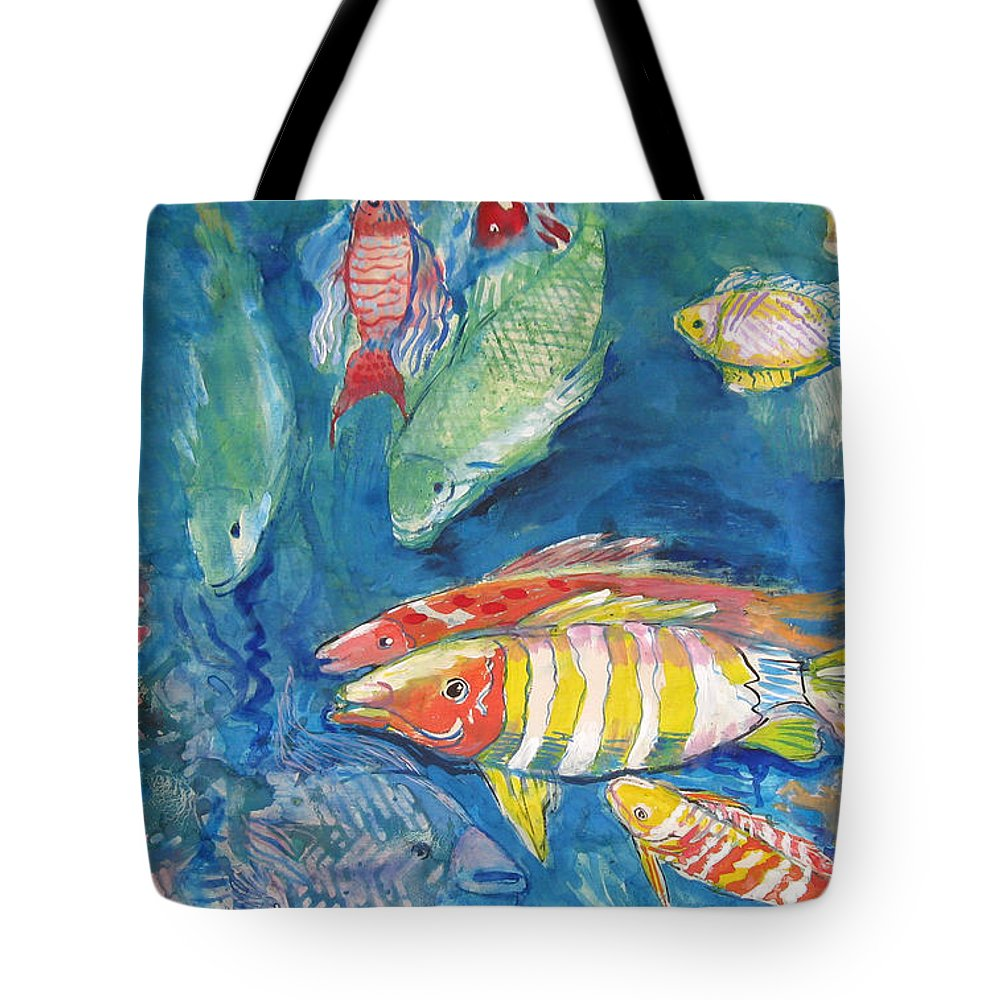 Water Tote Bag featuring the painting In the Sea by Guanyu Shi