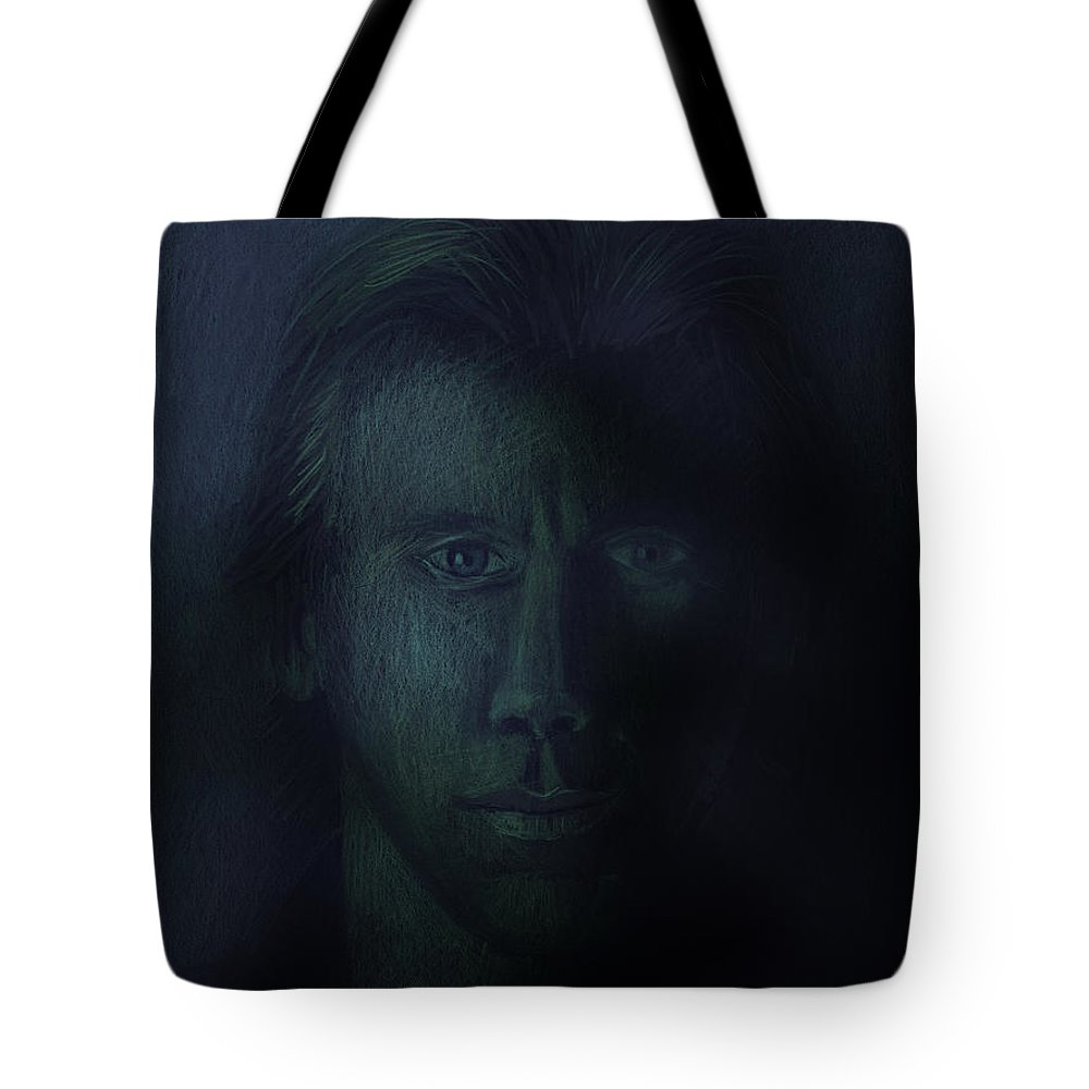 Dark Tote Bag featuring the pastel In The Shadows Of Despair by Arline Wagner